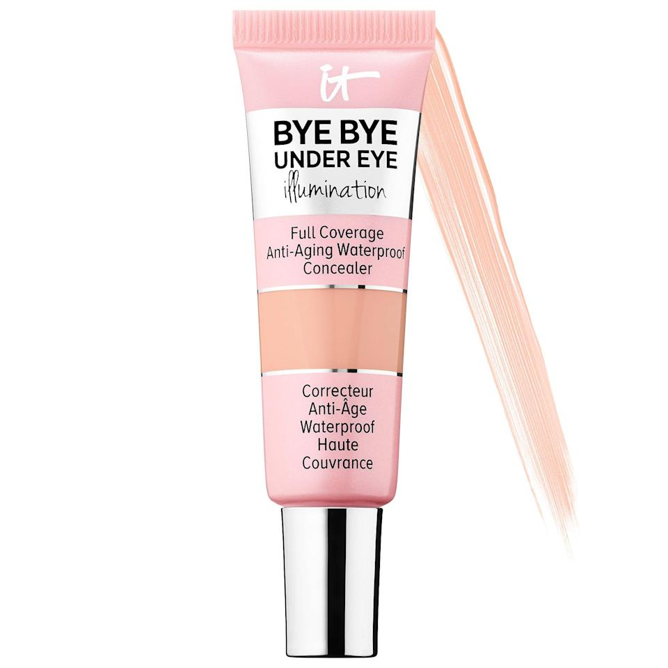 "<p>This top-rated <a href=""https://www.popsugar.com/buy/Cosmetics-Bye-Bye-Undereye-Illumination-Full-Coverage-Anti-Aging-Waterproof-Concealer-573770?p_name=IT%20Cosmetics%20Bye%20Bye%20Undereye%20Illumination%20Full%20Coverage%20Anti-Aging%20Waterproof%20Concealer&retailer=sephora.com&pid=573770&price=27&evar1=bella%3Aus&evar9=47465079&evar98=https%3A%2F%2Fwww.popsugar.com%2Fbeauty%2Fphoto-gallery%2F47465079%2Fimage%2F47465090%2FIT-Cosmetics-Bye-Bye-Undereye-Illumination-Full-Coverage-Anti-Aging-Waterproof-Concealer&list1=sephora%2Cconcealer%2Cbeauty%20shopping&prop13=mobile&pdata=1"" class=""link rapid-noclick-resp"" rel=""nofollow noopener"" target=""_blank"" data-ylk=""slk:IT Cosmetics Bye Bye Undereye Illumination Full Coverage Anti-Aging Waterproof Concealer"">IT Cosmetics Bye Bye Undereye Illumination Full Coverage Anti-Aging Waterproof Concealer</a> ($27) also offers full coverage and treats skin to hyaluronic acid, collagen, and peptides, but it adds in light-reflecting particles that both covers darkness and leaves a luminous glow under your eyes.</p>"