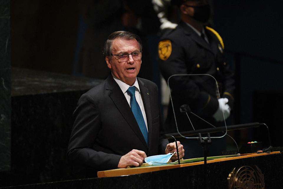Brazil's President Jair Bolsonaro addresses the 76th Session of the UN General Assembly on September 21, 2021, in New York. (Photo by TIMOTHY A. CLARY / POOL / AFP) (Photo by TIMOTHY A. CLARY/POOL/AFP via Getty Images)