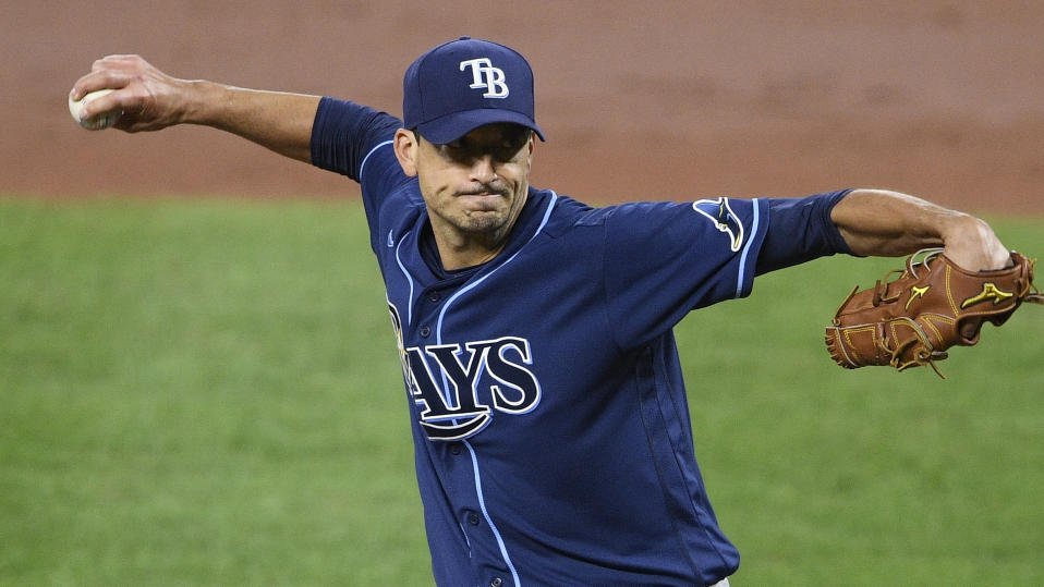 Tampa Bay Rays starting pitcher Charlie Morton delivers a pitch during a baseball game against the Baltimore Orioles, Saturday, Sept. 19, 2020, in Baltimore. (AP Photo/Nick Wass)