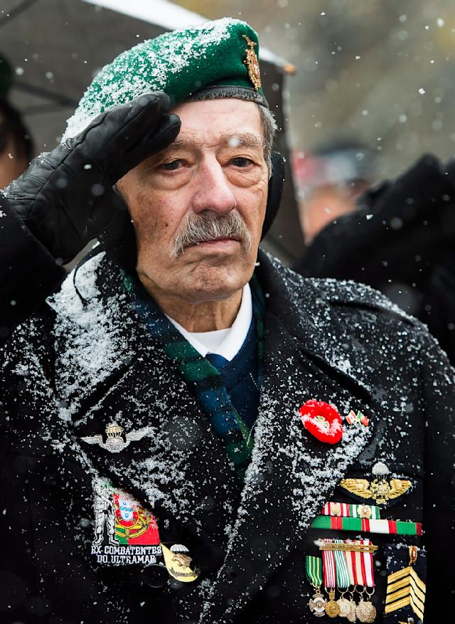 Veterans take part in Remembrance Day celebrations at Queen's Park in Toronto on Monday, November 11, 2019. THE CANADIAN PRESS/Nathan Denette