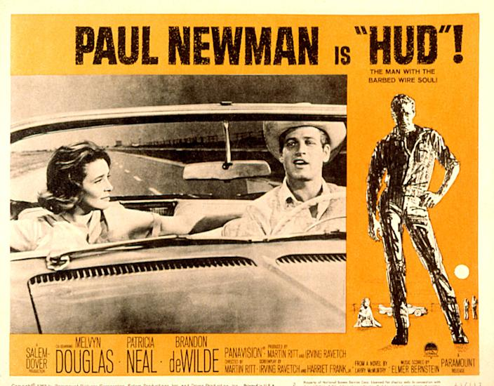 Hud, lobbycard, Patricia Neal, Paul Newman, 1963. (Photo by LMPC via Getty Images)