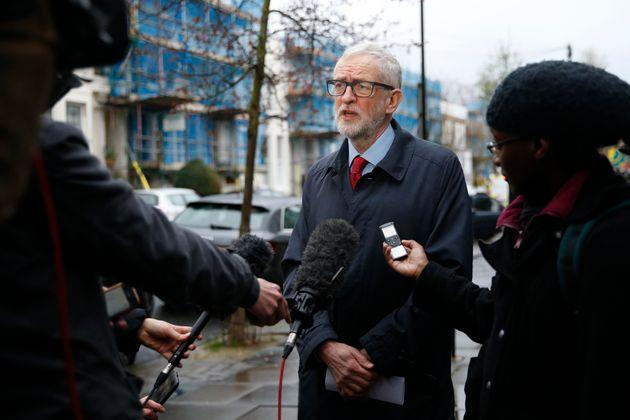 Former Labour party leader Jeremy Corbyn speaks to the media