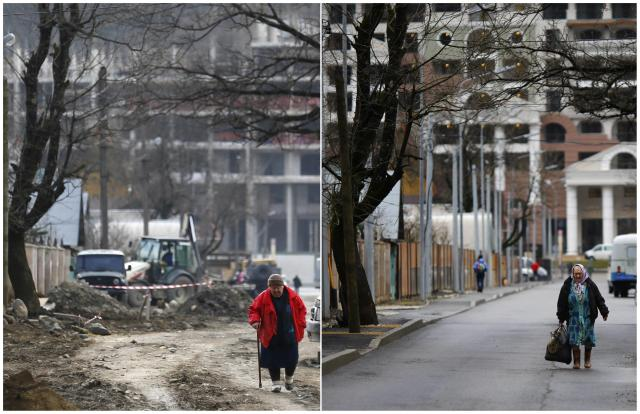 A combination of two pictures shows the development of construction within the last eleven months in the village of Krasnaya Polyana near Sochi, January 30, 2014. Picture on the left was taken in February 2013. Sochi will host the 2014 Winter Olympic Games from February 7 to 23. REUTERS/Kai Pfaffenbach (RUSSIA - Tags: SPORT OLYMPICS BUSINESS CONSTRUCTION)