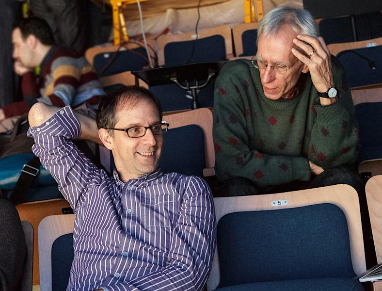 "This undated image released by Keith Sherman & Associates shows playwright David Ives, right, and John Rando in New York. Ives is celebrating the 20th anniversary of his first big success _ ""All in the Timing,"" a collection of six short plays. Primary Stages, which produced the plays in 1993, is once again mounting them, this time at 59E59 Theatres. (AP Photo/Keith Sherman & Associates, James Leynse)"