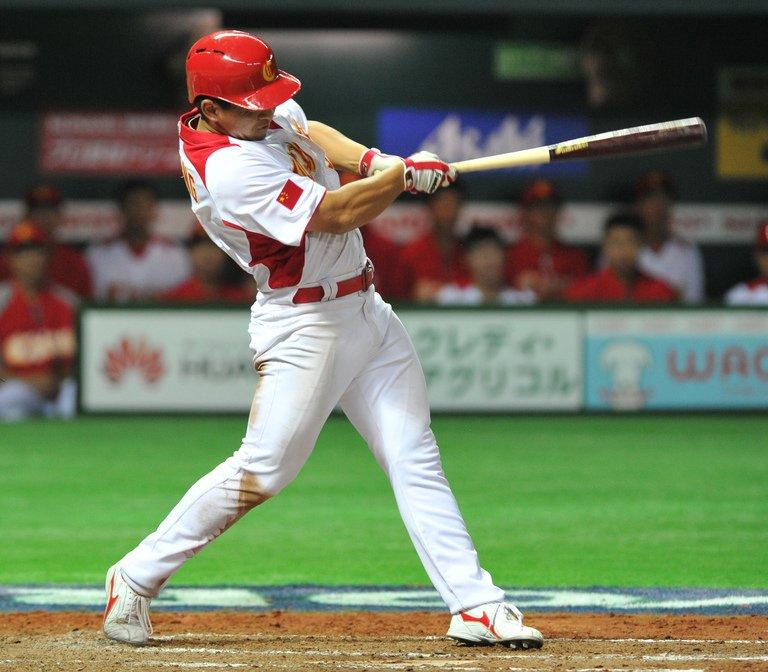 China's Ray Chang bats against Brazil during the eighth inning on March 5, 2013