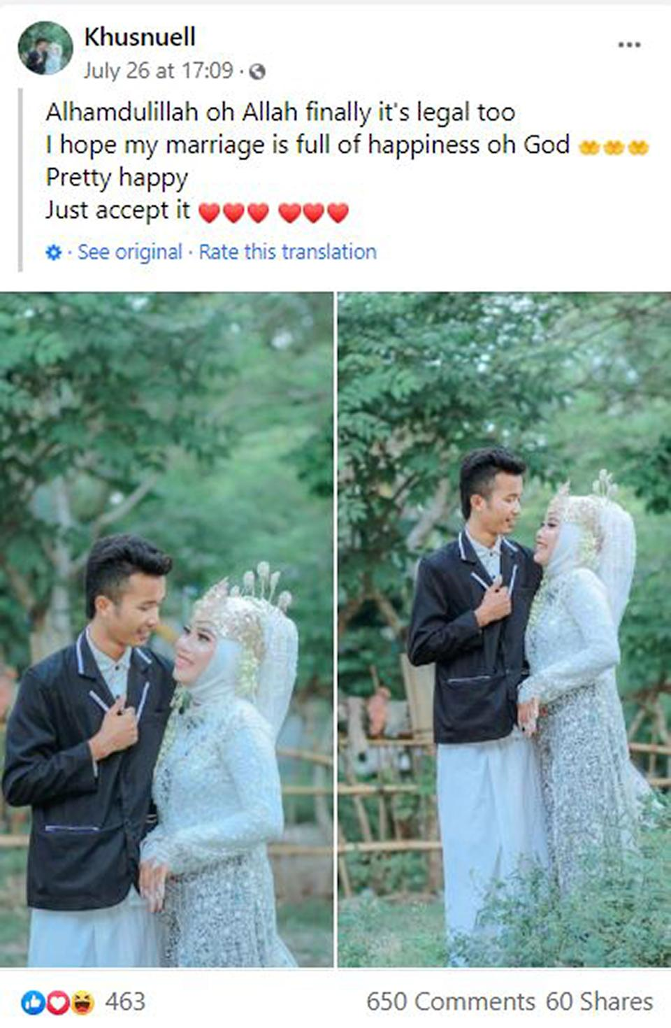 A Facebook post by one of the brides urging everyone to 'just accept it' after the wedding. Source: Newsflash/Australscope