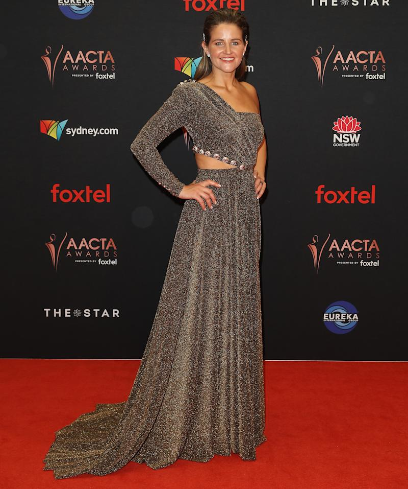 Michelle Payne pictured in a shimmering gown on AACTAs red carpet