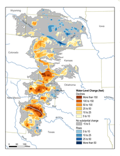 Map showing changing Ogallala Aquifer water levels over the past century