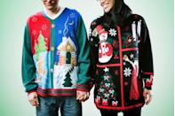 """<p>Why dress up when you can wear a comfortable ugly Christmas sweater? Encourage guests to get in on the fun by offering a prize to the person with the most outrageous outfit. </p><p><a class=""""link rapid-noclick-resp"""" href=""""https://www.amazon.com/Christmas-Sweater-Sleeve-T-Shirt-X-Large/dp/B07JFND7WD/?tag=syn-yahoo-20&ascsubtag=%5Bartid%7C10072.g.33643974%5Bsrc%7Cyahoo-us"""" rel=""""nofollow noopener"""" target=""""_blank"""" data-ylk=""""slk:SHOP UGLY SWEATERS"""">SHOP UGLY SWEATERS</a></p>"""