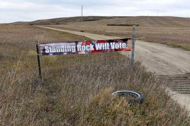 PHOTO: A banner encouraging tribal members to vote in the 2018 mid-term elections, is seen on the Standing Rock Reservation near Fort Yates, North Dakota, Oct. 26, 2018. (Dan Koeck/Reuters)