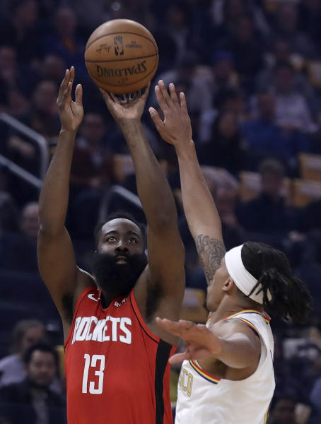 Houston Rockets' James Harden (13) shoots against Golden State Warriors' Damion Lee in the first half of an NBA basketball game Thursday, Feb. 20, 2020, in San Francisco. (AP Photo/Ben Margot)