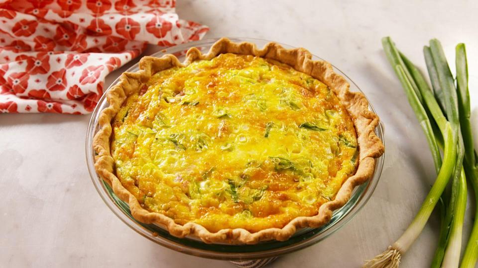 "<p>Quiches and pies are one and the same...it just depends on if you're looking for a main course or a dessert.</p><p>Get the recipe from <a href=""https://www.delish.com/cooking/recipe-ideas/a26934973/ham-and-cheese-quiche-recipe/"" rel=""nofollow noopener"" target=""_blank"" data-ylk=""slk:Delish"" class=""link rapid-noclick-resp"">Delish</a>.</p>"