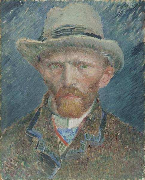 """This image provided by the Denver Art Museum shows Vincent van Gogh's """"Self Portrait with Grey Felt Hat."""" The story of how one of the most popular postimpressionist painters developed his signature style is told in an exhibit that the Denver Art Museum assembled using more than 70 van Gogh works from dozens of museums and collections around the world. The exhibit also includes artists who influenced him and from fellow postimpressionists. (AP Photo/Denver Art Museum)"""