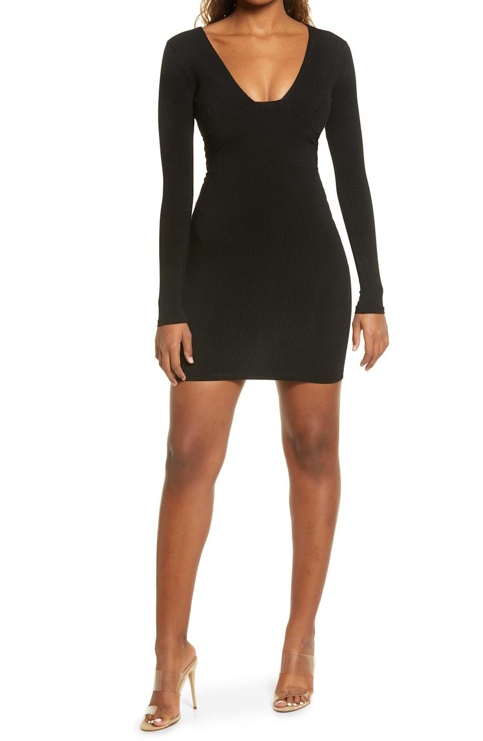 <p><span>Naked Wardrobe Snatched Bustier Long Sleeve Rib Body-Con Dress</span> ($29, originally $58)</p>