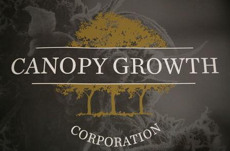 A sign featuring Canopy Growth Corporation's logo is pictured at their facility in Smiths Falls