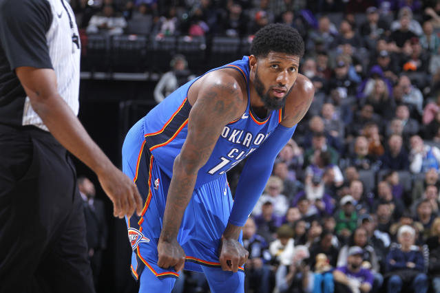 Paul George has been ice cold from the floor since the All-Star break. (Getty)