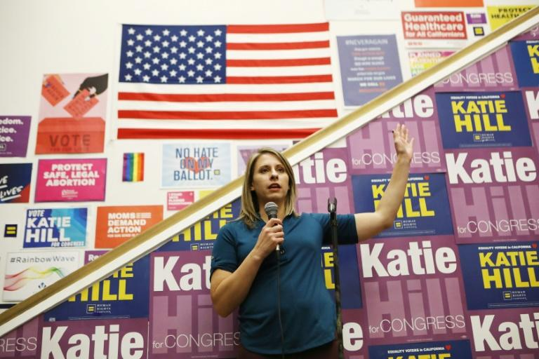 """US Democratic Congresswoman Katie Hill (pictured November 2018) said she voted for impeachment proceedings because of """"abuse of power over women"""""""