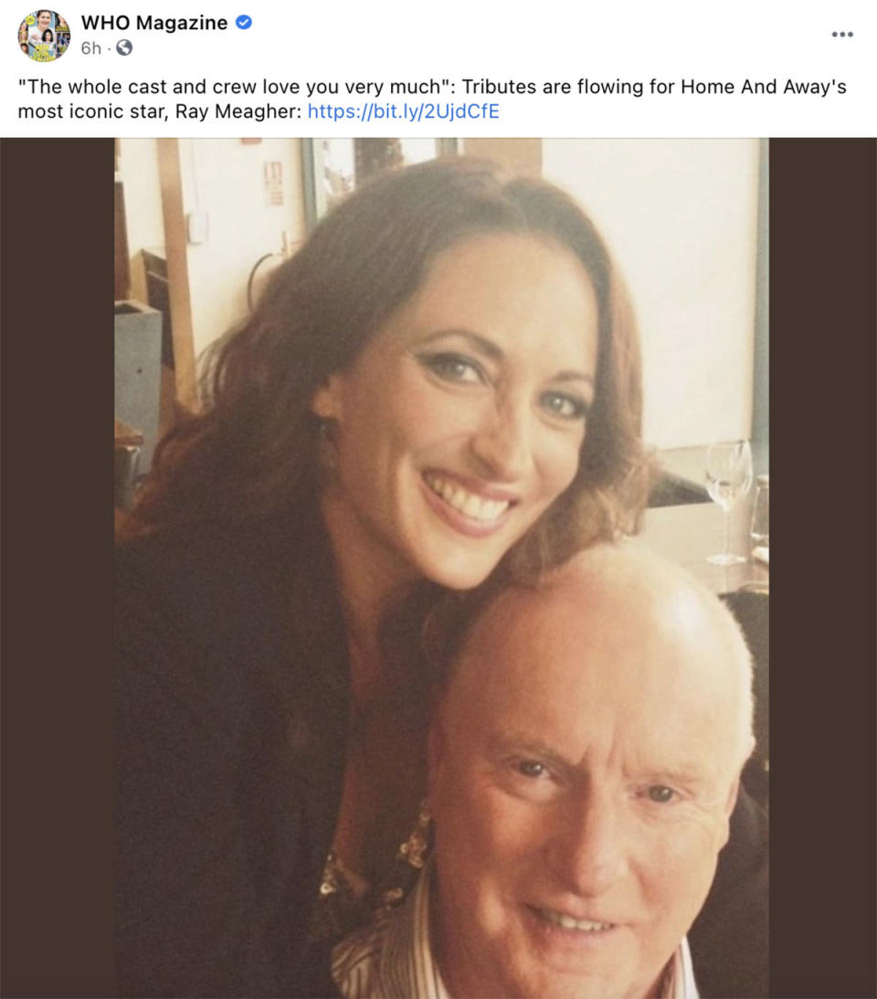 Who Magazine's Facebook post about Home and Away star Ray Meagher
