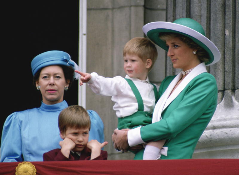 Princess Margaret with Princess and Diana and Princes William and Harry at Trooping the Colour.