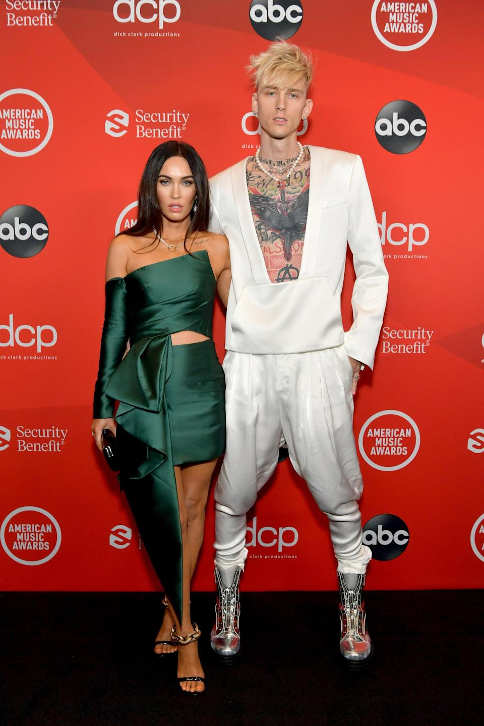 <p>The couple both chose bold two-piece ensembles for their red carpet debut.</p>