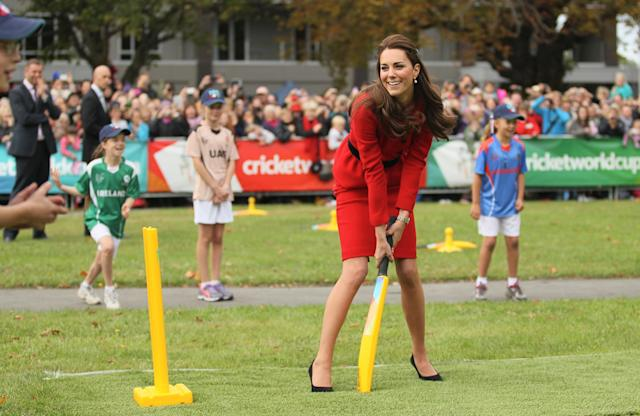 CHRISTCHURCH, NEW ZEALAND - APRIL 14: Catherine, Duchess of Cambridge bats during a game of cricket during the countdown to the 2015 ICC Cricket World Cup at Hagley Oval on April 14, 2014 in Christchurch, New Zealand. The Royal couple are currently in New Zealand and touring the country until Wednesday, when they then head to Australia. Today the Royals visit the redevelopments at Hagley Oval, the venue for ICC Cricket World Cup 2015 matches in Christchurch. (Photo by Joseph Johnson/Getty Images for ICC Cricket World Cup)
