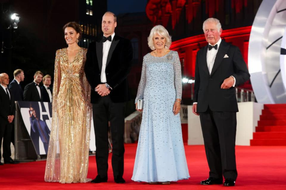 From left, Britain's Kate, the Duchess of Cambridge, Prince William, Camilla, the Duchess of Cornwall and Prince Charles, arrive for the World premiere of the new film from the James Bond franchise, 'No Time To Die', in London, Sept. 28. - Credit: AP