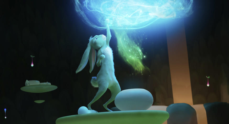 "This image released by Netflix shows the character Jade Rabbit in a scene from ""Over the Moon."" (Netflix via AP)"