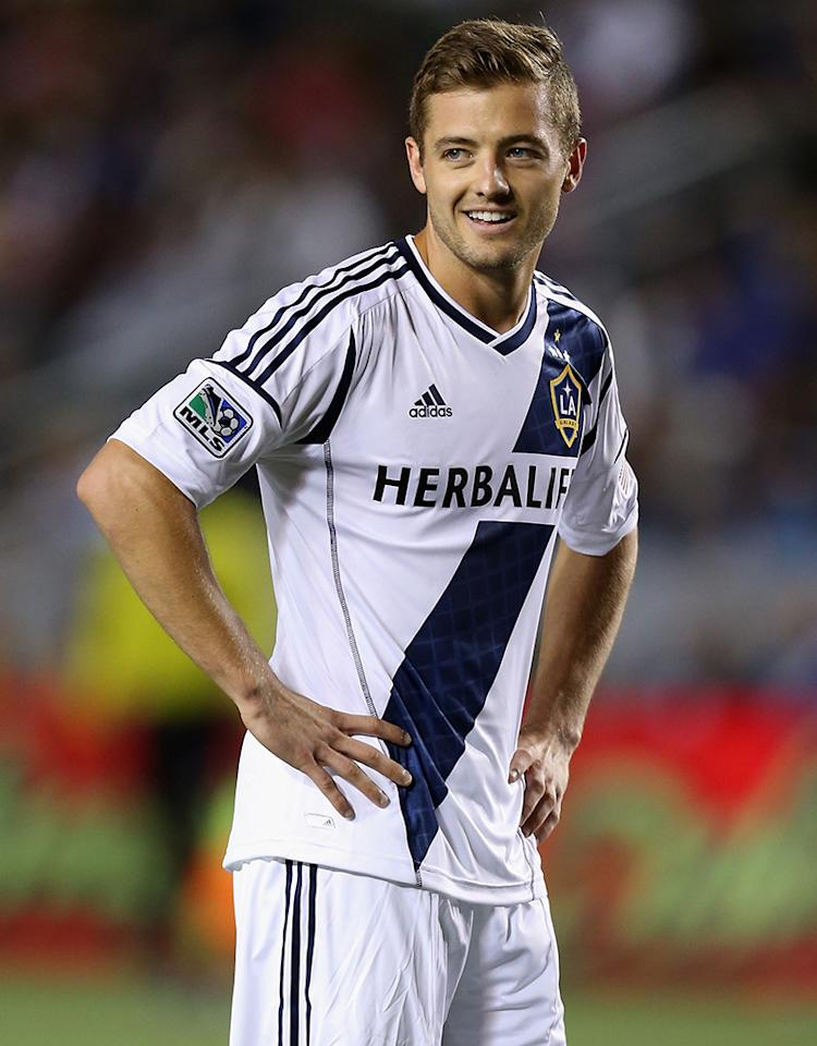 CARSON, CA - MAY 26:  Robbie Rogers #14 of the Los Angeles Galaxy looks on in the second half against the Seattle Sounders FC at The Home Depot Center on May 26, 2013 in Carson, California.  (Photo by Jeff Gross/Getty Images) *** Local Caption *** Robbie Rogers