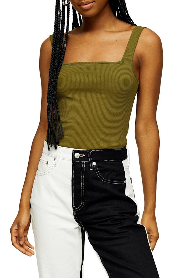 "<p>This <product href=""https://www.nordstrom.com/s/topshop-square-neck-ribbed-bodysuit/5536353"" target=""_blank"" class=""ga-track"" data-ga-category=""internal click"" data-ga-label=""https://www.nordstrom.com/s/topshop-square-neck-ribbed-bodysuit/5536353"" data-ga-action=""body text link"">Topshop Square Neck Ribbed Bodysuit</product> ($14, originally $18) will look great under a patterned blazer.</p>"