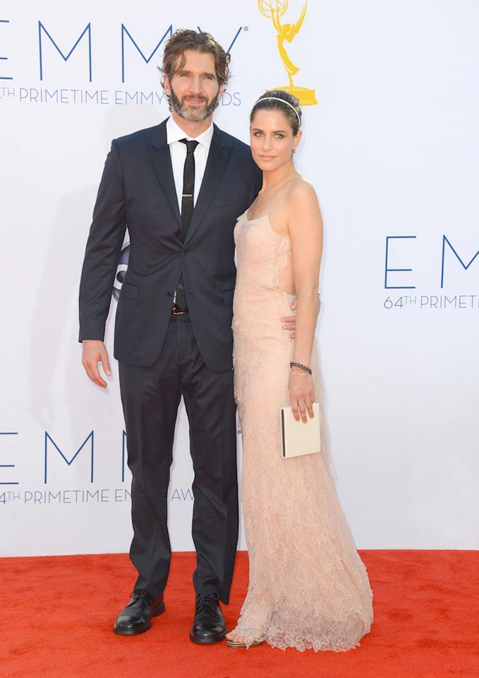 David Benioff and Amanda Peet at the 64th Primetime Emmy Awards at the Nokia Theatre in Los Angeles on September 23, 2012.