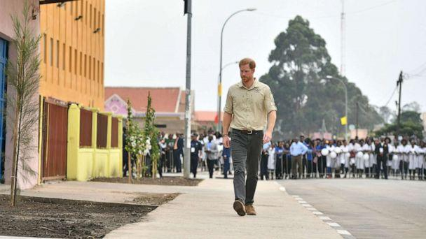 PHOTO: Prince Harry, Duke of Sussex on his way to visit The Diana Tree in Huambo, Angola, which marks the spot where the Princess of Wales was photographed in 1997, on day five of the royal tour of Africa on Sept. 27, 2019 in Dirico, Angola. (Dominic Lipinski/Getty Images)