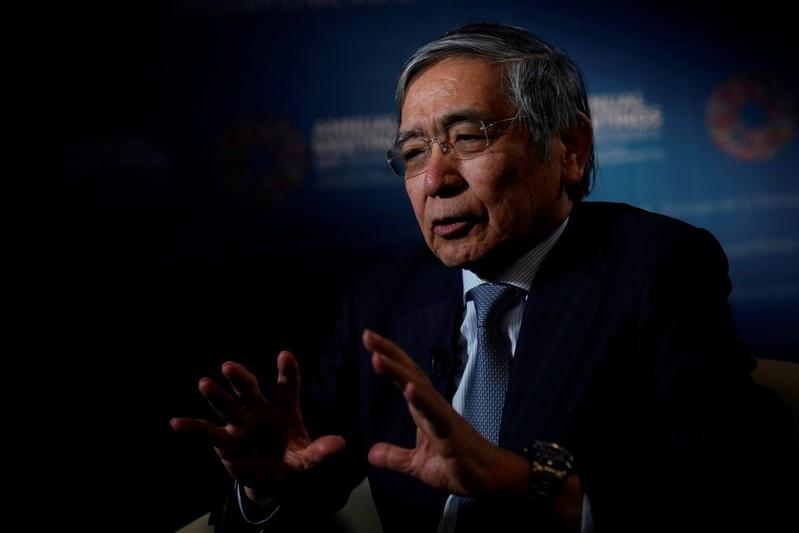 Bank of Japan (BOJ) Governor Haruhiko Kuroda, speaks during an interview with Reuters in Washington