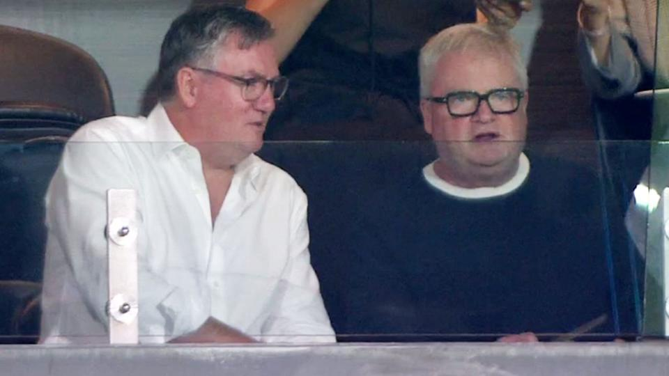 Eddie McGuire and Peter Gordon, pictured here during Collingwood's clash with Western Bulldogs.