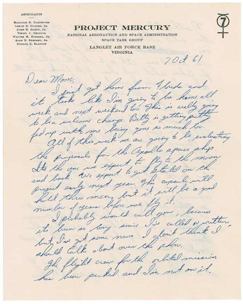 """In this handout photo provided by RR Auction of Amherst, N.H. Monday Nov. 18, 2013 is a letter from Mercury 7 astronaut Virgil """"Gus"""" Grissom to his mother. The letter recounts how he and five of his fellow Mercury 7 astronauts resented John Glenn for getting the nod to be the first American to orbit the earth. The letter, to be auctioned off this month by RR Auction also captures Grissom grumbling about being named a controller for the second space shot: """"I don't get any of the credit and if anything goes wrong, I'll get a good deal of the blame.""""(AP Photo/RR Auction)"""