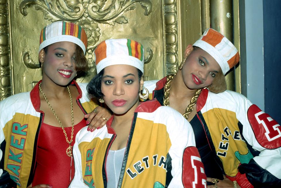 Salt-N-Pepa and their DJ Spenderla pose for a photo in 1988.  (Photo: Michael Ochs Archives / Getty Images)