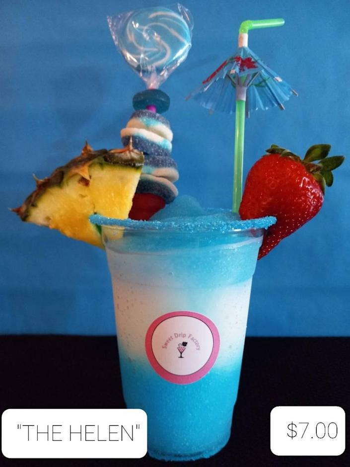 """One of Sweet Drip Factory's specialty drinks, """"The Helen,"""" is named in honor of the owner's grandmother."""