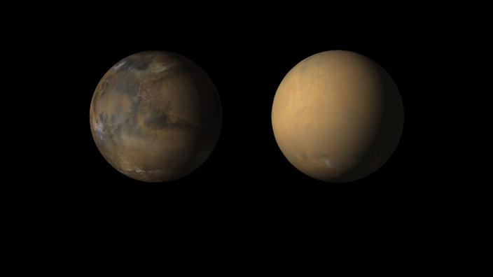 "Side-by-side movies shows how dust enveloped Mars, thanks to the Mars Color Imager (MARCI) camera on NASA's Mars Reconnaissance Orbiter. <p class=""copyright"">NASA/JPL-Caltech/MSSS</p>"
