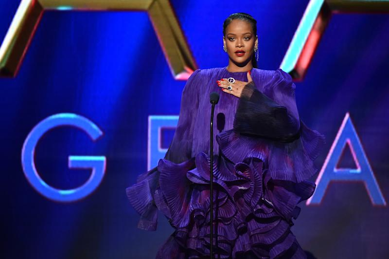 PASADENA, CALIFORNIA - FEBRUARY 22: Rihanna accepts the President's Award onstage during the 51st NAACP Image Awards, Presented by BET, at Pasadena Civic Auditorium on February 22, 2020 in Pasadena, California. (Photo by Aaron J. Thornton/Getty Images for BET)