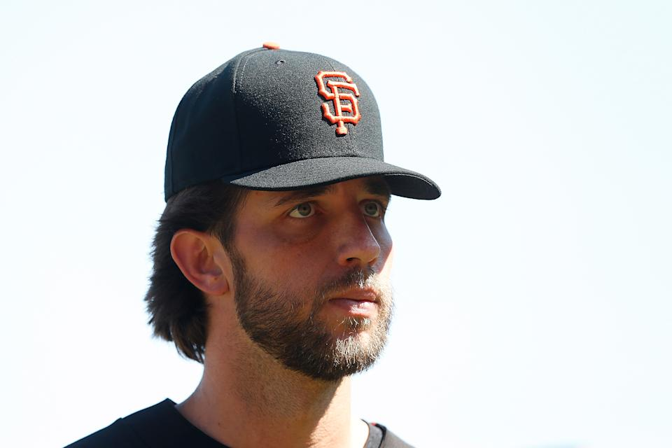SAN FRANCISCO, CALIFORNIA - AUGUST 10: Madison Bumgarner #40 of the San Francisco Giants looks on after the Giants defeated the Philadelphia Phillies at Oracle Park on August 10, 2019 in San Francisco, California. (Photo by Lachlan Cunningham/Getty Images)