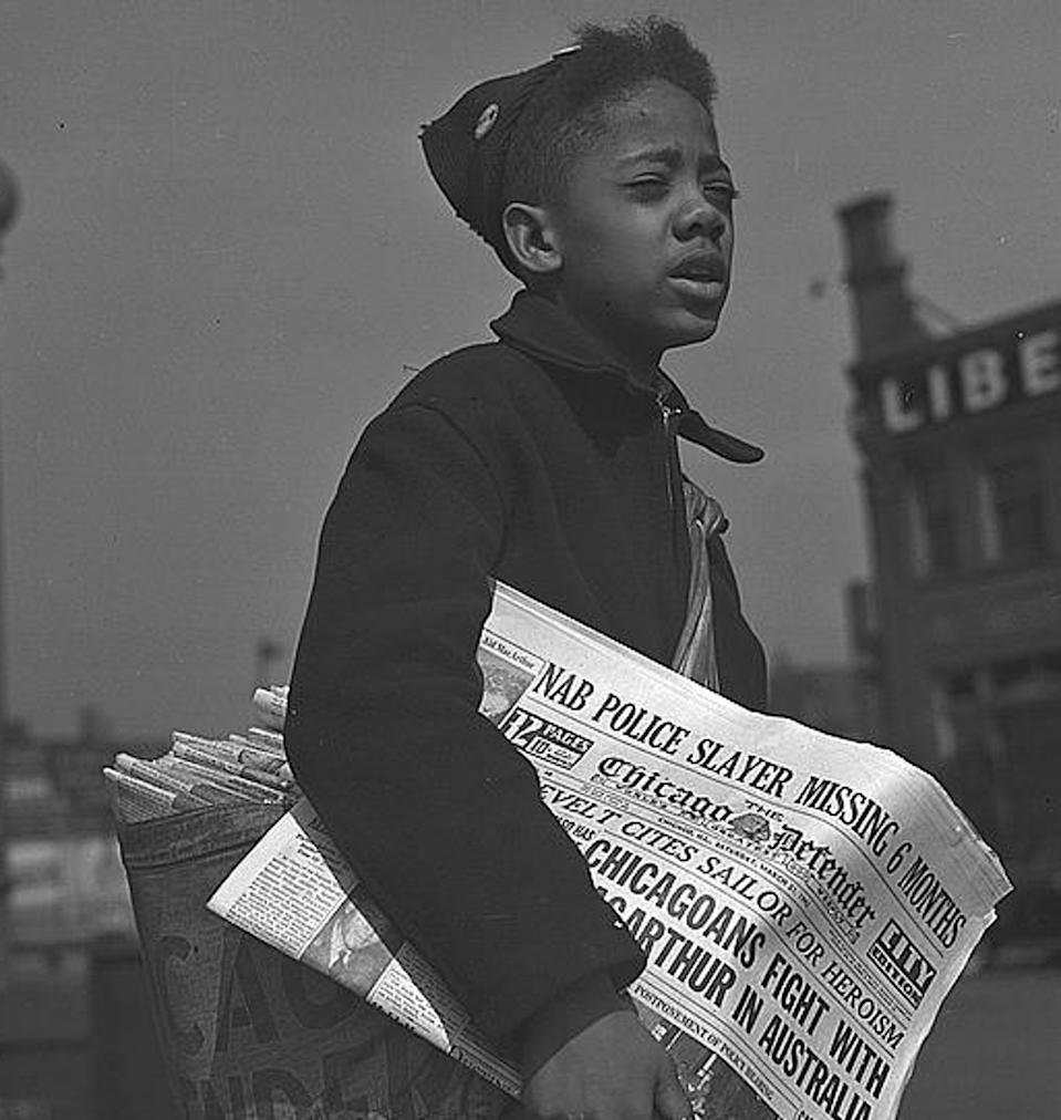 "<span class=""caption"">A newspaper boy hawks copies of the Chicago Defender.</span> <span class=""attribution""><a class=""link rapid-noclick-resp"" href=""https://www.loc.gov/resource/fsa.8e04925/"" rel=""nofollow noopener"" target=""_blank"" data-ylk=""slk:Library of Congress"">Library of Congress</a></span>"