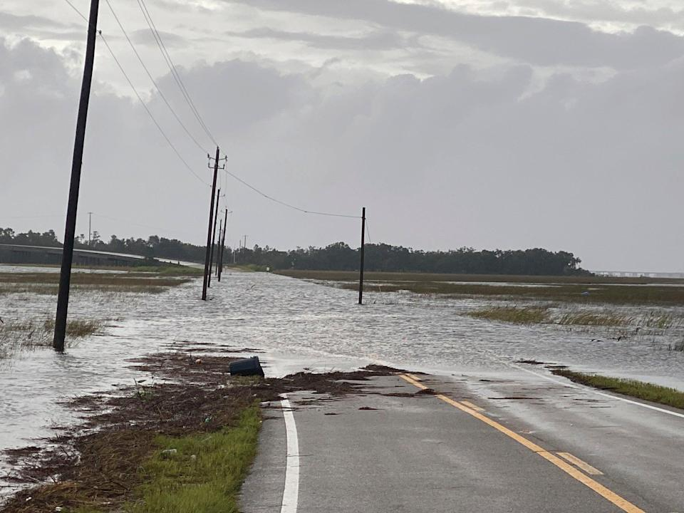 Harrison County W Wittmann Road in Pass Christian, Miss. floods in the early morning of Sunday, Aug. 29, 2021 as a result of the arrival of Hurricane Ida. (Hunter Dawkins/The Gazebo Gazette via AP) (AP)