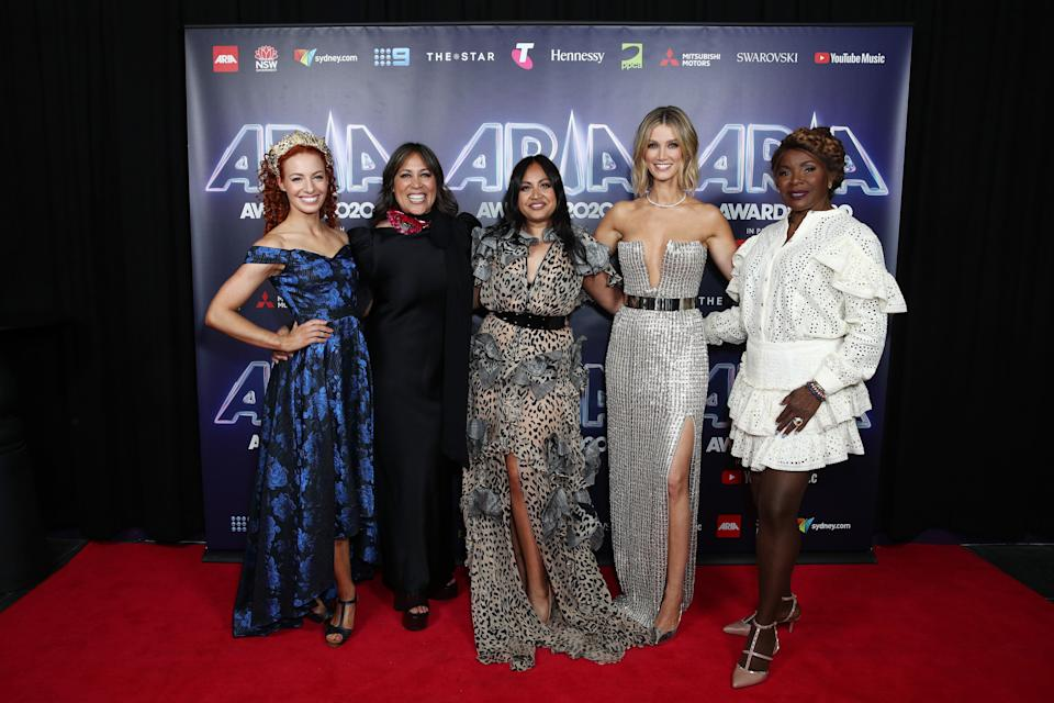 Emma Watkins, Kate Ceberano, Jessica Mauboy, Delta Goodrem and Marcia Hines attends the 2020 ARIA Awards at The Star. (Photo: Don Arnold via Getty Images)