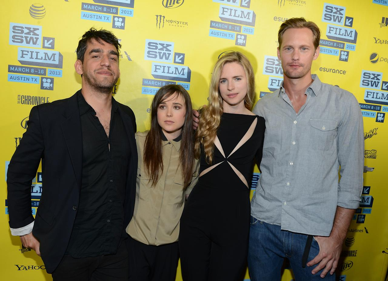 "AUSTIN, TX - MARCH 16:  (L-R) Director, Zal Batmanglij, actress Ellen Page, actress Britt Marling and actor Alexander Skarsgard attend the premiere of ""The East"" during the 2013 SXSW Music, Film + Interactive Festival at the Paramount Theatre on March 16, 2013 in Austin, Texas.  (Photo by Michael Buckner/Getty Images for SXSW)"