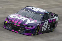 Alex Bowman races during a NASCAR Cup Series auto race at Dover International Speedway, Sunday, May 16, 2021, in Dover, Del. (AP Photo/Chris Szagola)