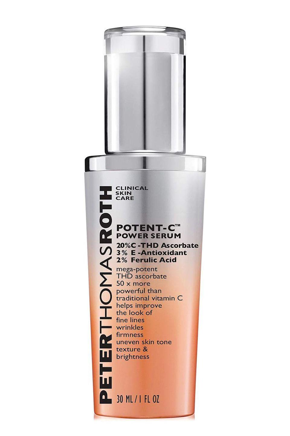 "<p><strong>Peter Thomas Roth</strong></p><p>ulta.com</p><p><strong>$95.00</strong></p><p><a href=""https://go.redirectingat.com?id=74968X1596630&url=https%3A%2F%2Fwww.ulta.com%2Fpotent-c-power-serum%3FproductId%3DxlsImpprod18531259&sref=https%3A%2F%2Fwww.cosmopolitan.com%2Fstyle-beauty%2Fbeauty%2Fg12091058%2Fbest-vitamin-c-serum-face-skin%2F"" rel=""nofollow noopener"" target=""_blank"" data-ylk=""slk:Shop Now"" class=""link rapid-noclick-resp"">Shop Now</a></p><p>This vitamin C serum is packed with 30 percent THD ascorbate (a slightly more stable form of vitamin C), 3 percent vitamin E (anti-inflammatory), 2 percent ferulic acid (boosts the efficacy of vitamin C), and <a href=""https://www.cosmopolitan.com/style-beauty/beauty/g28948492/best-hyaluronic-acid-serum/"" rel=""nofollow noopener"" target=""_blank"" data-ylk=""slk:hyaluronic acid"" class=""link rapid-noclick-resp"">hyaluronic acid</a> (plumping and hydrating). Basically, your <strong>face will stay hydrated and dewy all day long<em>, </em></strong>while also fighting dark spots. Magical, right?</p>"