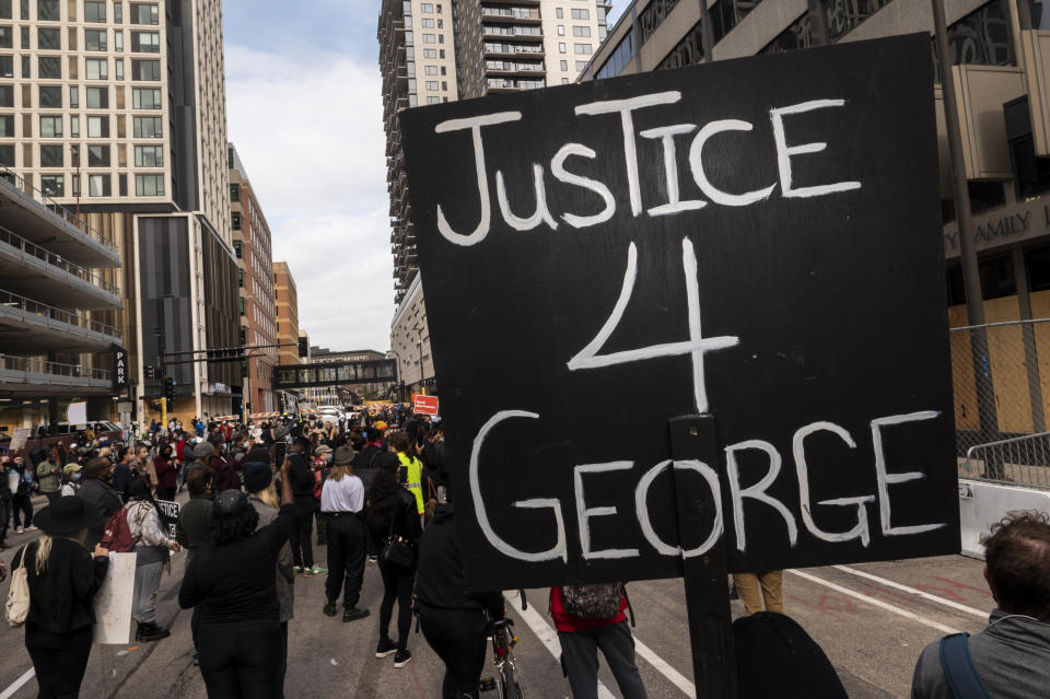 MINNEAPOLIS, MN - SEPTEMBER 11: Demonstrators gather outside the Hennepin County Family Justice Center on September 11, 2020 in Minneapolis, Minnesota. A pretrial hearing was held at the facility today for the four former Minneapolis Police officers charged in the death of George Floyd on May 25. (Photo by Stephen Maturen/Getty Images)
