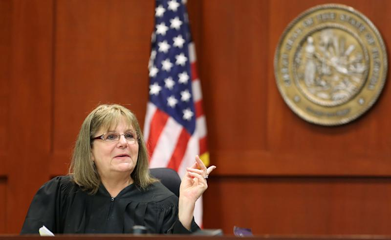 Judge Debra Nelson dismisses remaining jurors during the George Zimmerman trial in Seminole circuit court in Sanford, Fla., Tuesday, June 18, 2013. Zimmerman has been charged with second-degree murder for the 2012 shooting death of Trayvon Martin.(AP Photo/Orlando Sentinel, Joe Burbank, Pool)