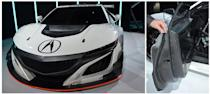 An Acura NSX race car — the entire body structure is made of carbon composites.