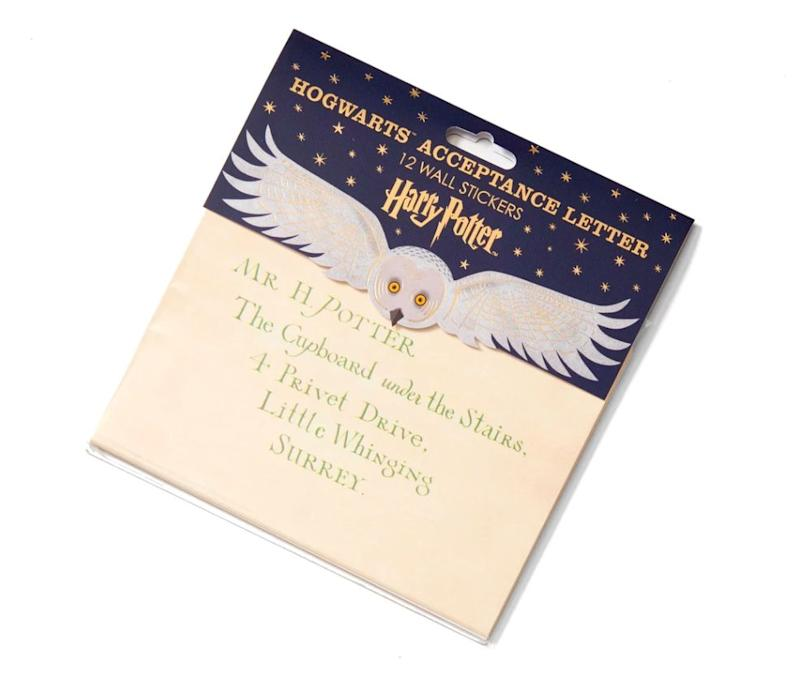 """Everyone dreams that come September, they'll get a letter of acceptance to Hogwarts. Sadly, that dream does not come true for, well, any of us, so we'll have to make do with faux letters. But how gorgeous is this Hogwarts Acceptance Letter, featuring 12 stickers you can put on your wall? <a href=""""https://www.curiosasociety.com/collections/harry-potter-gift/products/5060425400484"""" target=""""_blank"""" rel=""""noopener noreferrer"""">Get it for $29 at Curiosa</a>."""