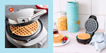 """<p>Ever seen a <a href=""""https://www.cosmopolitan.com/entertainment/tv/a26381465/best-cooking-shows-netflix/"""" rel=""""nofollow noopener"""" target=""""_blank"""" data-ylk=""""slk:Netflix cooking show"""" class=""""link rapid-noclick-resp"""">Netflix cooking show</a> and thought, """"Hey, I can make that,"""" and then you realized you don't even have the right <a href=""""https://www.cosmopolitan.com/food-cocktails/g33598358/cool-kitchen-gadgets/"""" rel=""""nofollow noopener"""" target=""""_blank"""" data-ylk=""""slk:kitchen gadgets"""" class=""""link rapid-noclick-resp"""">kitchen gadgets</a> or even the skillset to cook such a thing? Same. But TG I discovered the magic of waffle makers. This super easy tool lets you whip up a stellar breakfast—no Le Cordon Bleu diploma required.</p><p>There's an endless number of <a href=""""https://www.cosmopolitan.com/food-cocktails/a6842/waffle-recipes/"""" rel=""""nofollow noopener"""" target=""""_blank"""" data-ylk=""""slk:delicious waffle recipes"""" class=""""link rapid-noclick-resp"""">delicious waffle recipes</a> out there right now—from <a href=""""https://www.cosmopolitan.com/food-cocktails/a9135628/kylie-jenner-cinnamon-roll-waffle/"""" rel=""""nofollow noopener"""" target=""""_blank"""" data-ylk=""""slk:Kylie Jenner's favorite cinnamon waffle recipe"""" class=""""link rapid-noclick-resp"""">Kylie Jenner's favorite cinnamon waffle recipe</a> to these <a href=""""https://www.cosmopolitan.com/food-cocktails/news/a48850/tater-tots-in-waffle-iron/"""" rel=""""nofollow noopener"""" target=""""_blank"""" data-ylk=""""slk:savory tater tot waffles"""" class=""""link rapid-noclick-resp"""">savory tater tot waffles</a> to even this <a href=""""https://www.cosmopolitan.com/food-cocktails/a9946336/waffle-corn-dogs-video/"""" rel=""""nofollow noopener"""" target=""""_blank"""" data-ylk=""""slk:mind-blowing waffle corn dog hack"""" class=""""link rapid-noclick-resp"""">mind-blowing waffle corn dog hack</a>. And unlike many other types of grub, waffles are relatively easy and simple to cook up—especially if you're using one of these top-rated waffle makers I have listed, below.</p><p>I've gone ahead and done th"""